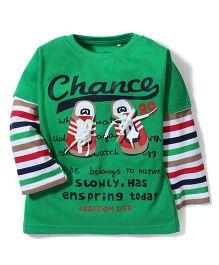 Babyhug Stripe Printed Long Sleeves T-Shirt - Green