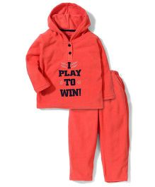 Kanvin Full Sleeves Hooded Jacket And Pant Set - Coral Red