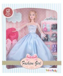 Fashion Girl Doll Set With Pink Cap - Blue