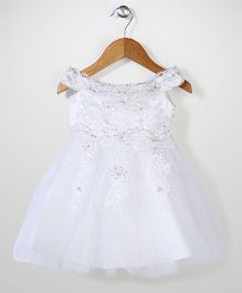 Party Princess Net Embroider Dress With Sequence - White