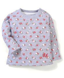 Gini & Jony Full Sleeves Sweat Shirt Floral Print - Grey