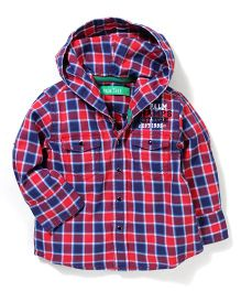Palm Tree Full Sleeves Hooded Check Shirt - Red