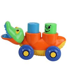 Pull Along Crocodile Shape Toy - Orange And Yellow