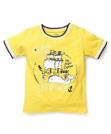 Babyhug Half Sleeves T-Shirt Graphic Print - Yellow