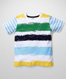 Babyhug Half Sleeves Striped T-Shirt - White Blue