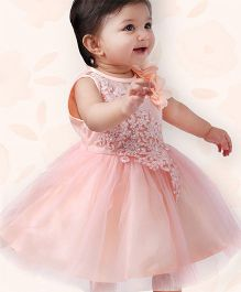 Peaches & Cream by Babyhug Designer Party Frock - Peach
