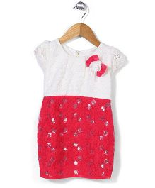 Babyhug Half Sleeves Lace Yoke Dress With Flower Bow - Crimson Off White