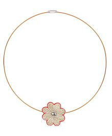 Chotee Flower Wire Necklace - Red & Gold