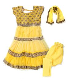 Kids Chakra Frill Anarkali Set - Yellow