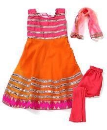 Kids Chakra Anarkali Set - Orange & Pink