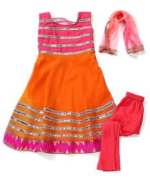 Kids Chakra Anarkali Set - Orange & Pink