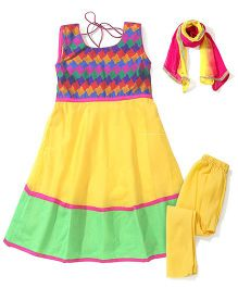 Kids Chakra Chanderi Anarkali Set - Multicolour