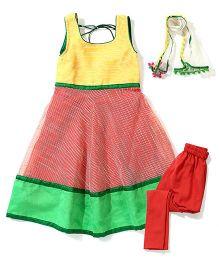 Kids Chakra Chanderi Anarkali Set - Yellow & Peach
