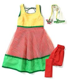 Kids Chakra Chanderi Anarkali Set - Yellow & Peach