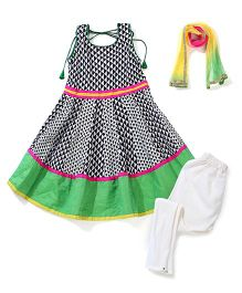 Kids Chakra Anarkali Set - Multicolour