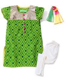 Kids Chakra Frill Churidar Set - Green & Off White