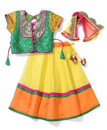 Kids Chakra Lehenga Choli Set - Green & Yellow