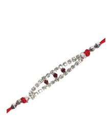 White and Red Diamond Rakhi