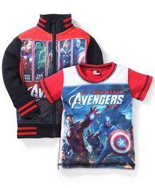 Finger Chips Full Sleeves Jacket And T-Shirt Avengers Print - Red N Black