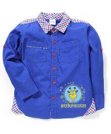 Babyhug Check Collar Shirt Giraffe Print - Royal Blue