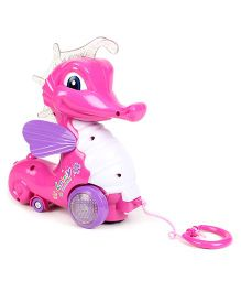 Pull Along Musical Sea Horse Toy - Pink