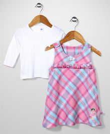 ToffyHouse Checks Frock With Inner Tee - Light Pink White