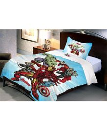 Uber Urban Avengers Single Cotton Bed Sheet And Pillow Cover