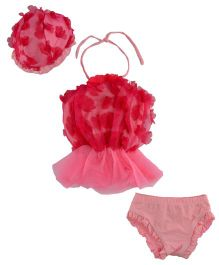 StyleMyKidz 3 Pieces Floral  Swimsuit - Pink