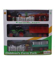Chicken Farm Park Trolley Toy Set - Red