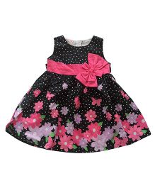 Tiny Closet Polka Dot Flower Printed Dress With Bow - Black