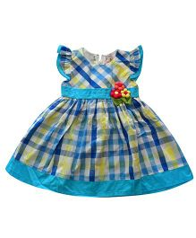 Tiny Closet Checkered Dress With Ruffled Sleeves - Yellow & Blue