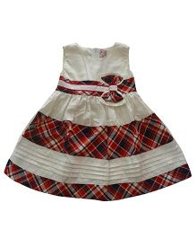 Tiny Closet Checkered Dress With Bow - White & Red