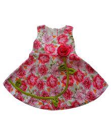 Tiny Closet Printed Dress With Rose Applique - Pink