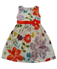 Tiny Closet Flower Printed Dress - Cream & Orange