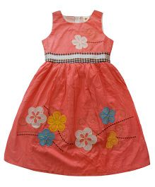 Tiny Closet Dress With Flower Patches - Peach