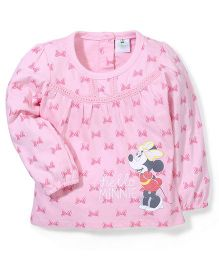 Disney by Babyhug Minnie Full Sleeves T-shirt - Pink