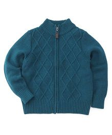 Sela Knit Pattern Zippered Cardigan Sweater - Peacock Blue