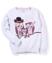 Sela Full Sleeves Owl Family Design Sweater - Grey