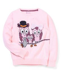 Sela Full Sleeves Owl Family Design Sweater - Pink