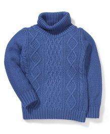 Sela High Neck Knit Pattern Full Sleeves Sweater - Blue