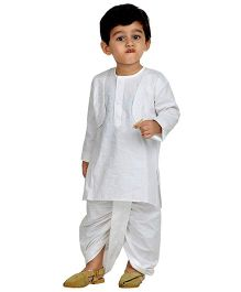 BownBee Full Sleeves Kurta And Dhoti Set - White