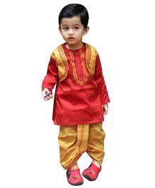 BownBee Kurta And Dhoti Set Embroidery - Red