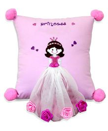 Little Pipal Square Cushion Princess Embroidery - Pink
