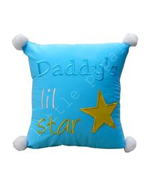 Little Pipal Square Cushion Star Embroidery - Blue