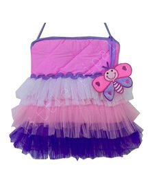 Little Pipal Butterfly Print Tutu Tote Bag - Pink And Purple