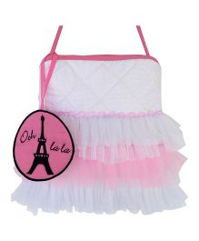Little Pipal Tower Print Tutu Tote Bag - Pink And White