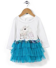 Babyhug Teddy Printed Party Frock - White & Blue