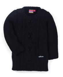 Vitamins Full Sleeves Plain Sweater - Black