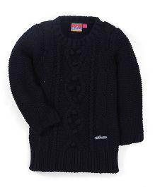 Vitamins Full Sleeves Plain Sweater - Black
