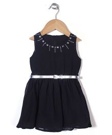 Vitamins Sleeveless Ornate Frock With Belt - Black